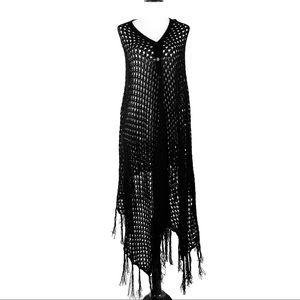 LuLaRoe Mimi black open knit fringed poncho
